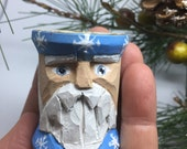 Wood Carved Santa Spool Primitive Santa Christmas Ornament, Vintage Sewing Thread Spool