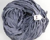Sari Silk ribbon, Silk sari ribbon,  grey Chiffon sari ribbon, Charcoal Grey ribbon, weaving supply, tassel supply, knitting supply,