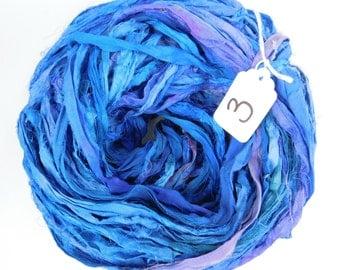 Silk Sari Ribbon, Sari silk Ribbon, blue sari ribbon, Sapphire blue ribbon, weaving supply, knitting supply, jewelry supply, tassel supply