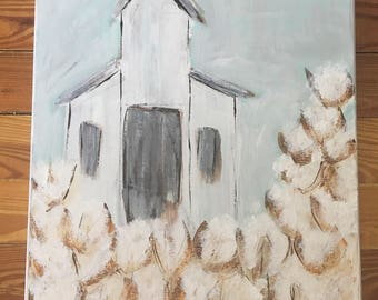 White Church in an Abstract Cotton Field - Acrylic on Canvas Painting 16 x20
