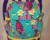 Troll inspired Poppy Smile or cupcakes rainbows back pack school bag tote book bag College all ages even diaper bag great for birthday gift