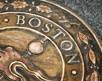 Boston Photograph, New England Art, Freedom Trail, Bronze Plaque, Rustic Decor, Urban Art, Historic, Landmark, Print or Canvas Wrap - Boston