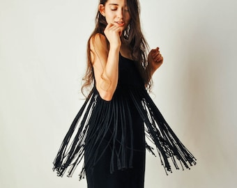 Vintage Black Fringe Dress