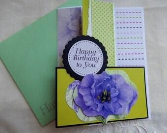 Handmade Birthday Card: complete card, handmade, balsampondsdesign,birthday card, greeting card, upcycle, purple flower, green, unique, ooak