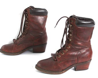 size 8.5 COMBAT burgundy leather 80s 90s FRINGE JUSTIN style high ankle boots