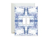 FOREVER AND EVER Tiled Blue and Lavender Marble Greeting Card / Wedding / Anniversary / Valentine's Day / Engagement