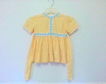 Sweet Vintage Little Girl's Dress Daffodil Yellow and Blue Easter 60s 70s