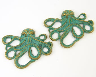 Octopus Pendant 2 Pcs Verdigris Patina Octopus Charm Green Bronze Sea Marine Life Nautical Jewelry Supply |LG5-14|2