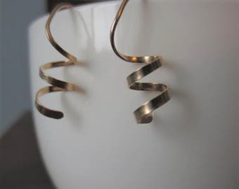 WHIMSICAL SPIRALS Textured Sterling Silver//14K Gold Filled// Spiral Earrings//Twisted Earrings//Coil Earrings