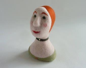 Miniature needle felted milliners mannequin head, 'Cordelia' by Gretel Parker