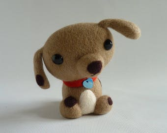 Needle felted dog, OOAK, 'Toby' ex-pattern model by Gretel Parker as seen in 'Craftseller' magazine