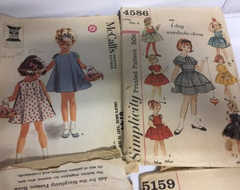 Vintage girl dress patterns 1960s 1950s sz 5 6 7