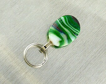 Green Magnetic ID Holder / Magnetic Eyeglass Holder Handmade with Lampwork Glass, Custom Lanyard, Magnetic Lanyard Eyeglass Holder
