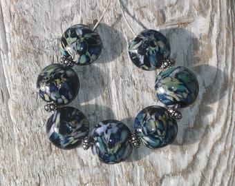 Handmade Lampwork Lentil Bead set of 7 - Black Organic Granite