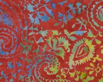 Batik Red Paisley - From Timeless Treasures - Batik - Tonga Batik - Cotton Fabric- Only one yard -WindyRobinCotton