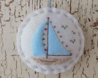 A Holiday Sail - Felt Sailboat Christmas Ornament