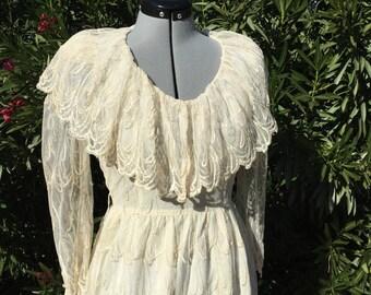 Vintage Bari Protas Cache Ivory Lace Victorian Steampunk Dress 80s Retro