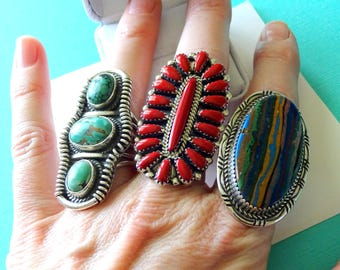 Huge Navajo Triple Turquoise and Sterling Silver Ring Size 7
