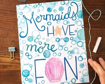 Mermaid Art. Hand lettered Art. Beach Art Print. Nursery Decor. 8 x 10 print. Beach Theme.  Ready to Frame. Wall Art. Inspirational Art