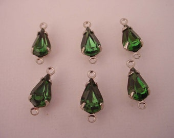 6 Vintage glass emerald green machine cut  pear silver setting 10x6 2 ring connectors