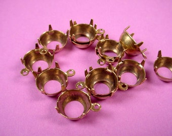 12 antique Brass Ox    Round Prong Settings 48SS 11mm 1 Ring open back