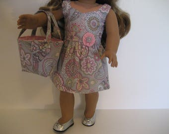 18 Inch Doll Clothes - Gray Print Dress with Handbag made to fit dolls such American Girl and Maplelea doll clothes