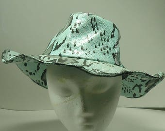 Aqua Blue, Black, And Gray Vinyl Faux Snake Skin Cowboy Hat With Wired Brim