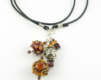 Boho Cluster Charm Lampwork Glass Pendant Leather Necklace with Sterling Silver Gemstones and Crystals in Burgundy and Topaz