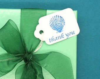 Hang Tag, Sea Shell Thank You Hang Tag, Wedding Favor Tag, Price Tag, Small Hang Tag, Sea Shell, Party Favor Tag