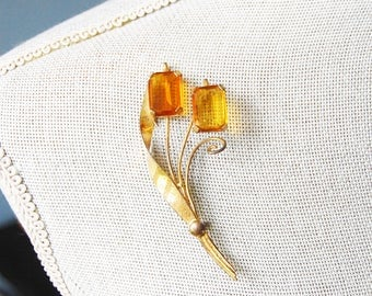 Vintage Sterling Cattail Brooch Amber Glass Stones 1950s Gilt Silver Art Moderne
