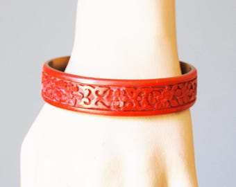 Vintage Antique Chinese Cinnabar Bracelet Brass Lined Deeply Carved Bangle 1930s Authentic