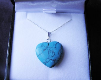 Gorgeous Turquoise Heart Necklace - On Solid Silver Chain