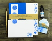 The Beach Comber's Letter Writing Set - Blue sea shells and starfish - stationery set with stickers