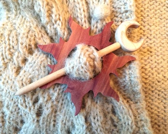 Red Cedar and Maple Sun and Moon Shawl Pin - Scarf Pin - Hair Slide