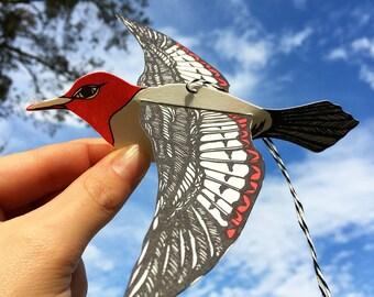 letterpress pop-out redheaded woodpecker