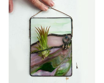 Stained Glass Panel, Air Plant Holder, upcycled jewelry,  Spring Valley