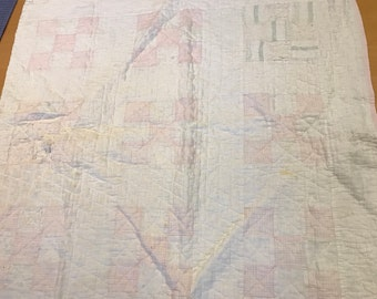 Vintage Hand Quilted Pale Pink and White Nine Patch Thinner Cutter Quilt Piece