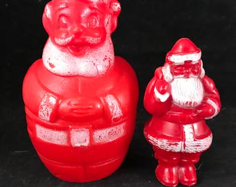 Pair of Vintage Red Plastic Santa Clause Figures Decor for Christmas