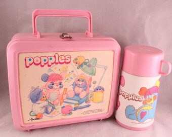 Vintage 1986 Pink Plastic Popples Aladdin Lunch Box and Matching Thermos