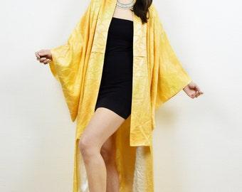 Vintage antique kimono, kimono jacket, vintage kimono, Japanese kimono, 80s kimono, midi length kimono, art deco, boho kimono, kimono