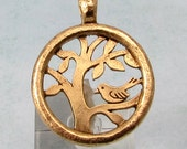 Bird In A Tree Of Life Pendant, Antique Gold AG318
