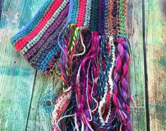 Crochet Fringe Gypsy Scarf Multicolor Boho