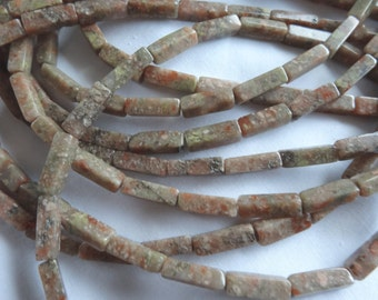 15 1/2 inch Strand Natural Rose or Autumn Jasper Square Tube 12 to 13mm Long Stone Beads A400