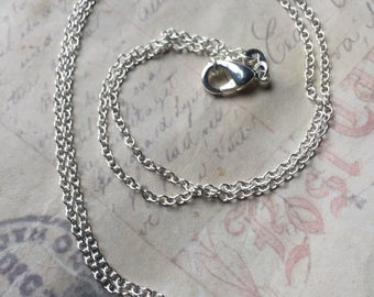 """18 """" plated silver fine cable chain"""