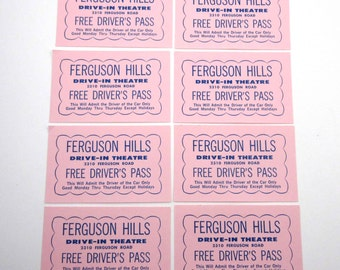 Vintage 1960s Drive In Movie Theatre Driver's Pass Ferguson Hills Never Used Set of 8