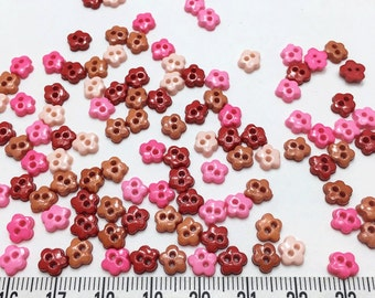 100 pcs of tiny flower buttons - Pink Red Brown Tone