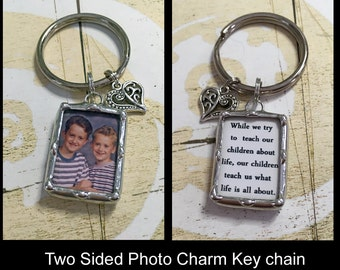 Soldered Glass Keychain, Personalized Mothers Day Gift, Photo Charm, Custom Made
