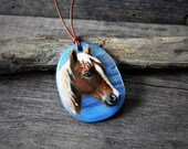 RESERVED for Marlene Beautiful  horse necklace - fused glass pendant -