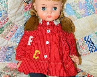 On Sale Vintage 1950's Horsman Doll Blonde Cheerleader, Pigtails, Mohair wig, Green Eyes Red Dress retro 50's Toys Blondie School Girl Made