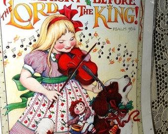 1990 Daisy Kingdom Mary Engelbreit  #6532 Iron on Transfer, Make a Joyful Symphony Before the Lord the King, Psalm 09:6